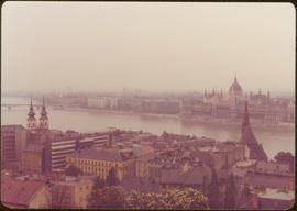 View of Budapest and the Danube River from high elevation