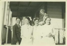 Group photo of three nurses and two women at Port Simpson Hospital