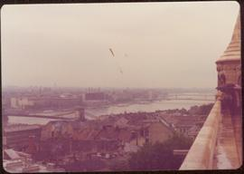 View of Budapest and the Danube River from a walled building