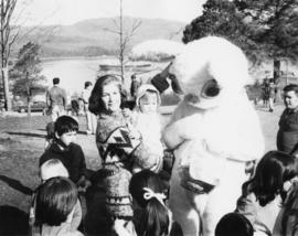 Iona Campagnolo and children with CHTK Radio's Wonder Bunny, possibly Ed Jurak, in Prince Rupert