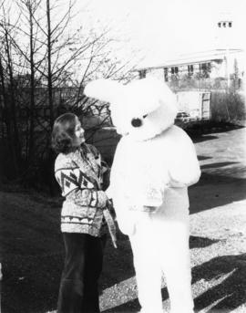 Iona Campagnolo with CHTK Radio's Wonder Bunny, possibly Ed Jurak, in Prince Rupert