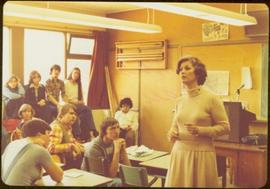 Iona Campagnolo speaking to group of high school students in classroom
