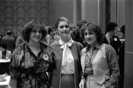 Iona Campagnolo with Colleen Reguisit and Roselyn Wolos, possibly at a Young Liberals Forum