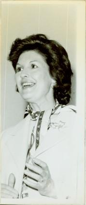 Close view of Minister Iona Campagnolo speaking, ca. 1978