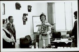 Minister Iona Campagnolo holding an eagle doll at a reception in the Arts and Crafts Division of ...