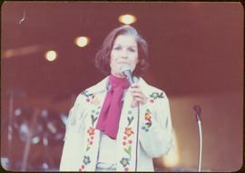 Commonwealth Games, Edmonton 1978 - Iona Campagnolo wears fringed white leather jacket while spea...