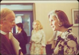 Minister Iona Campagnolo speaking to Donald Coggan, Archbishop of Canterbury, September 1978