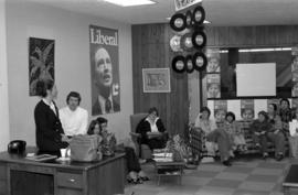 Iona Campagnolo with constituents in office at grand opening of Liberal office in Kitimat
