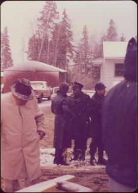 Raising of Eli Gosnell's Pole, New Aiyansh, November 1978 -	Iona Campagnolo speaks with police of...