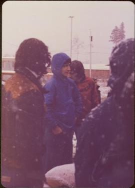 Raising of Eli Gosnell's Pole, New Aiyansh, November 1978 - Several unidentified people looking on