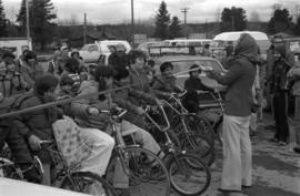 Iona Campagnolo cutting ribbon at children's bicycle race in Terrace