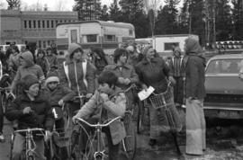 Iona Campagnolo with constituants on bikes after bicycle race in Terrace