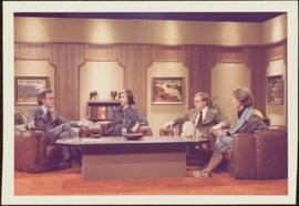 Iona Campagnolo, two unidentified men, and one unidentified woman sit around coffee table in CBC television studio