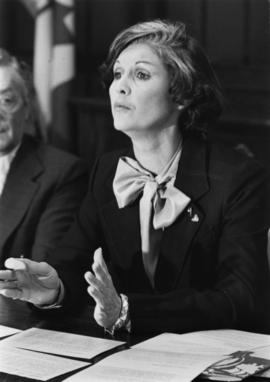 Iona Campagnolo speaking at a meeting in a Liberal promotional photograph