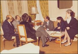 Paris Press Conference - Close view of Roger Jackson, Iona Campagnolo, and four unidentified othe...