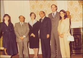 Paris Press Conference - Iona Campagnolo and Roger Jackson stand with four unidentified others