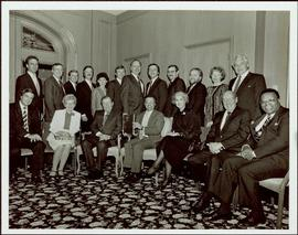 Iona Campagnolo posing with three unidentified women and fifteen unidentified men, Toronto, ON