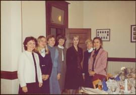 Iona Campagnolo posing with group of six unidentified women at the founding of the Regina Women's...