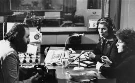 Iona Campagnolo at radio interview with Murray Hanna and woman