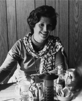 Iona Campagnolo at a restaurant table