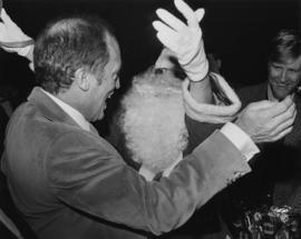 Prime Minister Pierre Trudeau and Iona Campagnolo dressed as Santa Claus