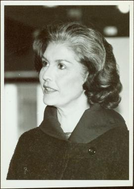 Close view of Iona Campagnolo speaking during presidency campaign, November 1982