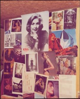 Photograph of an Iona Campagnolo poster at the top centre of collage on Scott Inniss' wall, 1984