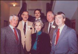 Iona Campagnolo poses with Liberal Leader Leo Barry, M.P. Brian Tobin, M.P. Bill Rompky, and two unidentified men in Corner Brook, NF