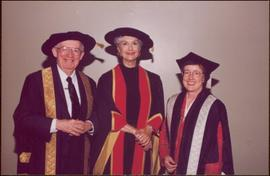 Honourary Doctor of Laws, Brock University - Iona Campagnolo between unidentified man and women, all in regalia
