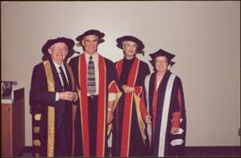 Honourary Doctor of Laws, Brock University - Iona Campagnolo with two men and two women, all in r...