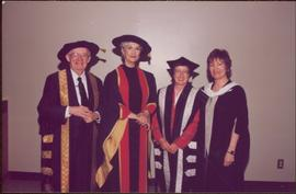 Honourary Doctor of Laws, Brock University - Iona Campagnolo with unidentifed man and two women, all in regalia
