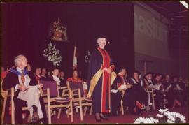 Honourary Doctor of Laws, Brock University - Iona Campagnolo standing onstage at the convocation ...
