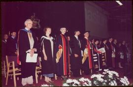 Honourary Doctor of Laws, Brock University - Iona Campagnolo standing with others onstage at the ...