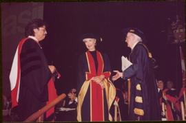 Honourary Doctor of Laws, Brock University - Iona Campagnolo standing between two unidentified men, all in regalia