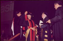 Honourary Doctor of Laws, Brock University - Iona Campagnolo receiving the doctoral sash