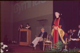 Honourary Doctor of Laws, Brock University - Iona Campagnolo standing on stage in regalia