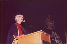 Honourary Doctor of Laws, Brock University - Close view of Iona Campagnolo in regalia, speaking at podium