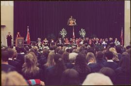 Honourary Doctor of Laws, Brock University - Iona Campagnolo speaking at podium on stage in distance