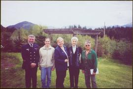 Lieutenant Governor Iona Campagnolo standing outside in group of five at Mission, BC