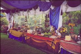 Three elaborate table settings at Countess Aline Dobrzensky's Garden party