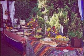 Two elaborate table settings at Countess Aline Dobrzensky's Garden party