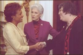 Lieutenant Governor Iona Campagnolo introducing Governor General Michaëlle Jean to an unidentifie...