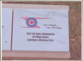 Commemorative stone honouring Iona Campagnolo at the Comox Valley Air Force Museum