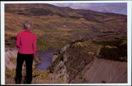 Lieutenant Governor Iona Campagnolo looking out over the Stikine Canyon, facing away from camera