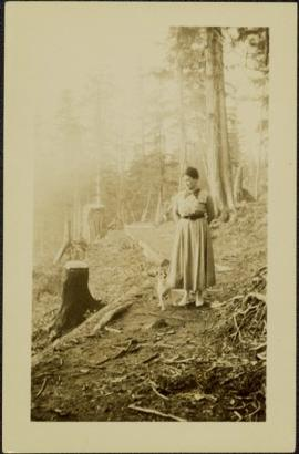 Sarah Glassey & Dog in Forest