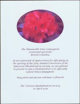 The 'Iona Campagnolo' rhododendron, acknowledgement, 2005 Annual Convention of the American Rhododendron Society