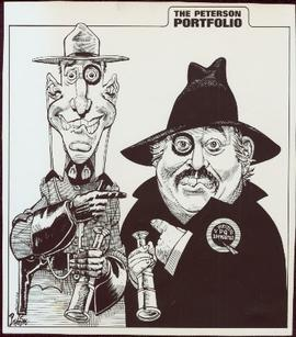 Political cartoon for 'The Vancouver Sun' featuring an RCMP officer and Quebec Premier Jacques Parizeau pointing fingers at one another
