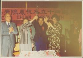 Iona Campagnolo and others clap at the cake cutting, 14th Anniversary of the Tai-Chi Chuan Association