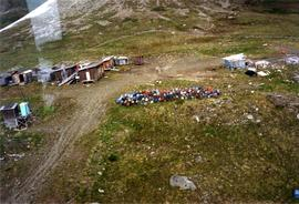 Aerial view of Kutcho Creek exploration camp