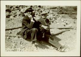 H.F. Glassey with Man at Mining Area